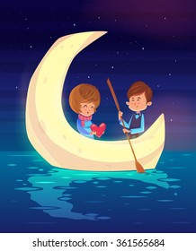 Couple girl and boy sitting in a boat on the background of the moon. Modern design stylish illustration. Retro flat vector background. Valentines Day Card.