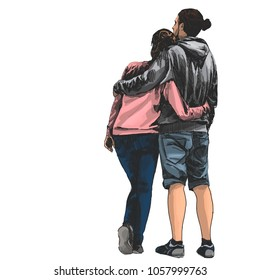 couple girl and guy stand with his back hugging and looking into the distance, colored drawing in sketch style vector