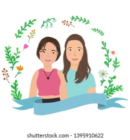 Couple of girls happily smile in floral wreath frame. Cartoon characters.