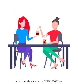 couple girls students sitting cafe table women holding hot drinks having conversation during meeting coffee break concept white background flat full length