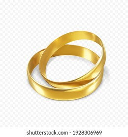 Couple of glossy golden rings. Ring symbol of love and wedding. Vector illustration