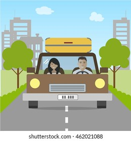 Couple goes in vacation. Man and woman in a car of a coffee color. There is a car, buildings, road, trees in the picture. Vector illustration
