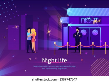 Couple Going to Night Club through Security Check Banner Vector Illustration. Man and Woman Spending Night Life Actively. Guard Standing near Entrance to Party Event. Characters hugging.