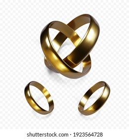 Couple of gold wedding rings. Golden jewelry object. Pair of engagement rings. Vector illustration