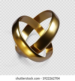 Couple of golden rings. Ring symbol of wedding. Vector isolated