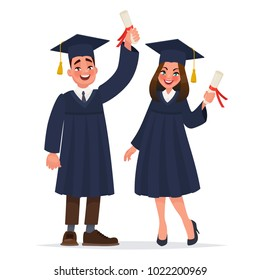 Couple of graduates with diplomas. The guy and the girl graduated from university. Vector illustration in cartoon style