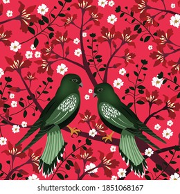A couple green bird on red tree, christmas card,illustration vector doode comic art.
