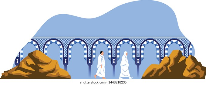 Couple hajj pilgrimage walk back and forth between the hills of Safa and Marwah. One of Islam's sacred pilgrimage step. Suitable for info graphic.