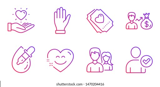 Couple, Hand and Eye drops line icons set. Hold heart, Sallary and Smile chat signs. Love ticket, Identity confirmed symbols. Male and female, Waving palm. People set. Gradient couple icon. Vector