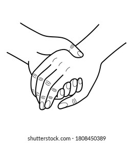 Couple Hand Hold, Simple Line Art Illustration