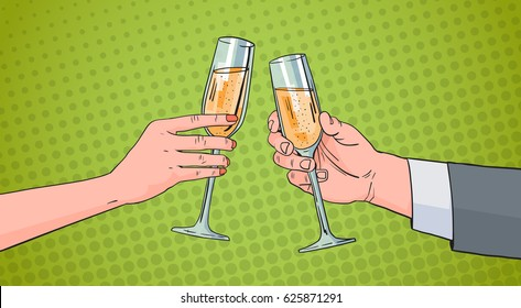 Couple Hands Clinking Glass Of Champagne Wine Toasting Pop Art Retro Pin Up Background Vector Illustration
