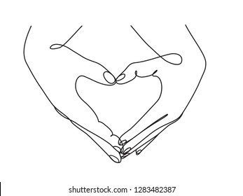 Couple hands showing love sign. Continuous line drawing