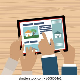 Couple hands with tablet searching a house for sale online