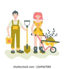 Couple of happy gardeners. Vector gardening concept