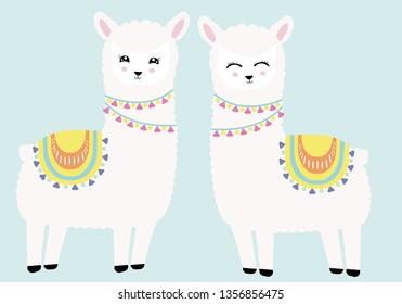 Couple of happy llamas vector illustration