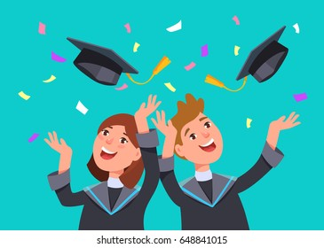 Couple happy smiling graduates man and woman in graduation gowns throwing mortarboards in air. Vector illustration concept graduation ceremony flat style