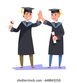Couple happy smiling graduates man students friends in graduation gowns holding diplomas and congratulate each other raise high the hands high five. Vector illustration graduation ceremony flat style