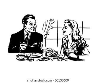 Couple Having Breakfast - Retro Clip Art