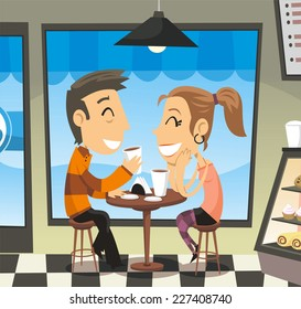 Couple having a coffee at a cafe laughing, with a man and a woman laughing, sharing, having a coffee to go. Vector illustration cartoon.
