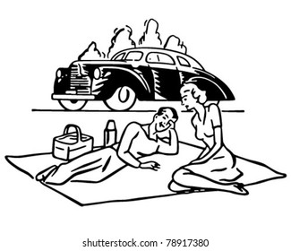 Couple Having Picnic - Retro Clipart Illustration