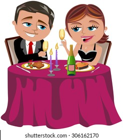 Couple having a romantic dinner isolated