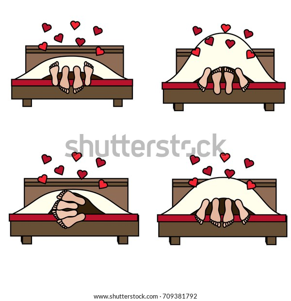Couple Having Sex Bed Different Poses Stock Vector Royalty Free 709381792-2343