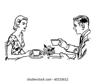 Couple Having Tea - Retro Clip Art