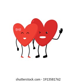 couple heart character cute, heart, love, illustration