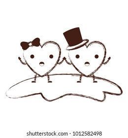 couple heart character kawaii holding hands and him with top hat and her with topknot in surprised expression in brown blurred contour