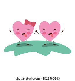 couple heart character kawaii holding hands and closed eyes and her with topknot in funny expression in colorful silhouette