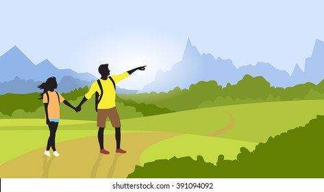 Couple Hiking Man Woman Silhouette Traveler Mountain Road Path Point Hand Green Valley Nature Background Vector Illustration