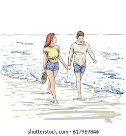 Couple Hold Hands Walking Beach Man And Woman Holiday Sketch On SeaVacation Vector Illustration