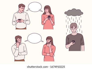 A couple is holding a cell phone in hand and thinking. They are calling each other. A depressed dark cloud man is holding a cell phone. hand drawn style vector design illustrations.