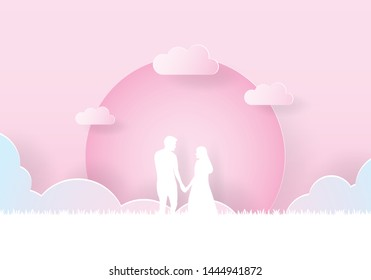 Couple holding hand walking together under the moon, Paper art, Paper cut, Craft vector, design