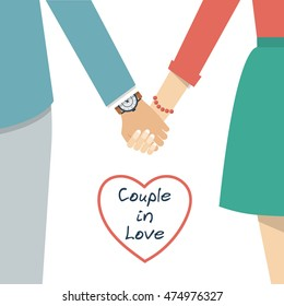 Couple holding hands. Female and male hands together. Couple in love. Vector illustration flat design.