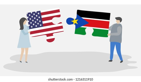 Couple holding puzzle pieces with American and Sudanese flags. United States of America and South Sudan flags.