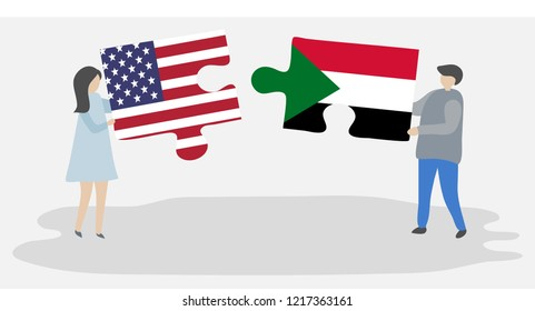 Couple holding puzzle pieces with American and Sudanese flags. United states of America and Sudan flags together.