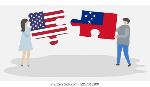 Couple holding puzzle pieces with American and Samoan flags. United states of America and Samoa flags together.
