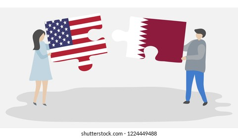 Couple holding puzzle pieces with American and Qatari national flags. United States of America and Qatar symbols.