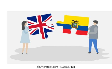 Couple holding puzzle pieces with British and Ecuadorian national flags. United Kingdom and Ecuador symbols together.