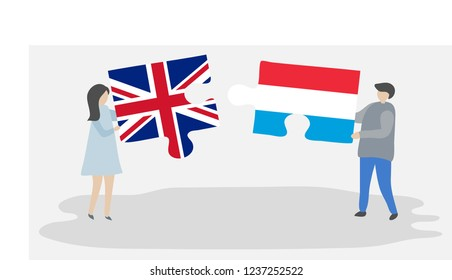 Couple holding puzzle pieces with British and Luxembourg national flags. United Kingdom and Luxembourg flags together.