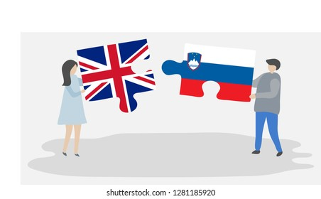 Couple holding puzzle pieces with British and Slovenian national flags. United Kingdom and Slovenia flags together.