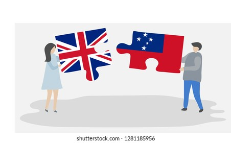 Couple holding puzzle pieces with British and Samoan national flags. United Kingdom and Samoa flags together.