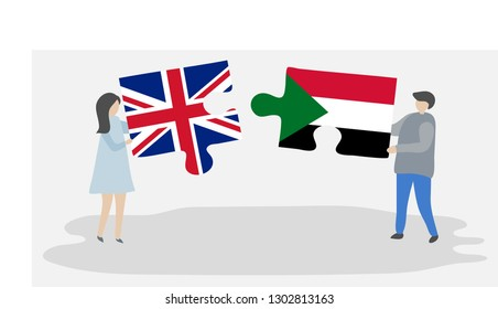 Couple holding puzzle pieces with British and Sudanese flags. United Kingdom and Sudan national symbols together.