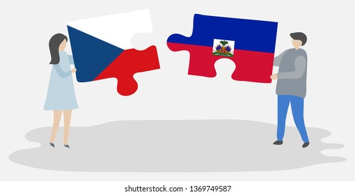 Couple holding two puzzles pieces with Czech and Haitian flags. Czech Republic and Haiti national symbols together.