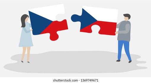 Couple holding two puzzles pieces with Czech and Czech flags. Czech Republic and Czech Republic national symbols together.