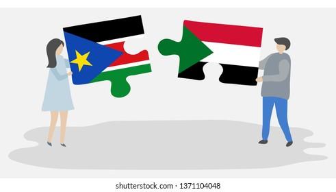 Couple holding two puzzles pieces with South Sudanese and Sudanese flags. South Sudan and Sudan national symbols together.