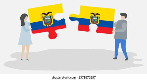 Couple holding two puzzles pieces with Ecuadorian and Ecuadorian flags. Ecuador and Ecuador national symbols together.