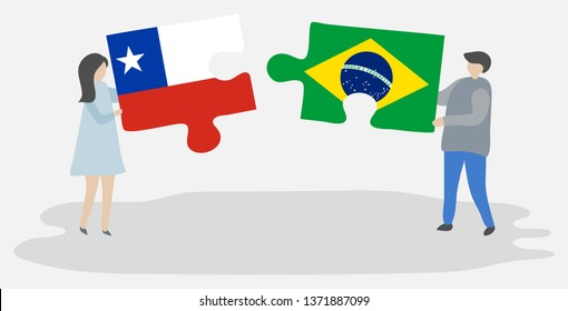 Couple holding two puzzles pieces with Chilean and Brazilian flags. Chile and Brazil national symbols together.