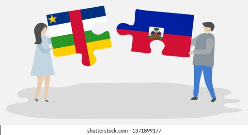Couple holding two puzzles pieces with Central African and Haitian flags. Central African Republic and Haiti national symbols together.